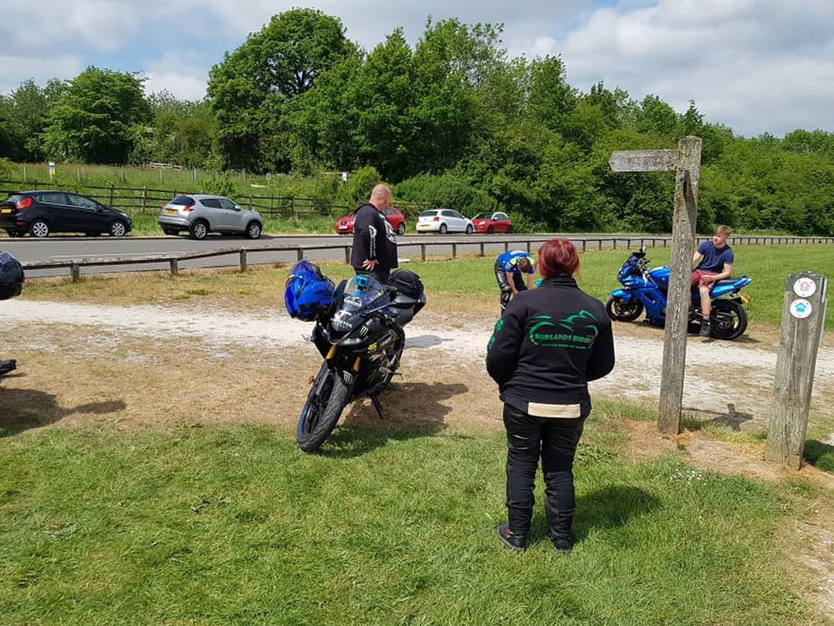 James Louis Hall managed to jump on his motorbike for a trip to Carsington Water in Derbyshire.