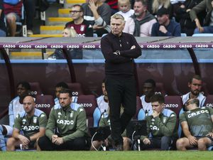 """Aston Villa manager Dean Smith on the touchline during the Premier League match at Villa Park, Birmingham. Picture date: Saturday August 28, 2021. PA Photo. See PA story SOCCER Villa. Photo credit should read: Barrington Coombs/PA Wire.    RESTRICTIONS: EDITORIAL USE ONLY No use with unauthorised  audio, video, data, fixture lists, club/league logos or """"live"""" services. Online in-match use limited to 120 images, no video emulation. No use in betting, games or single club/league/player publications."""