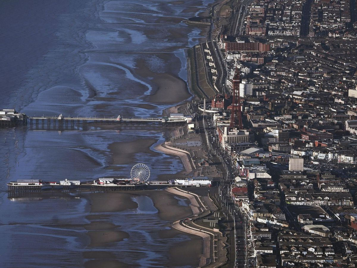 Blackpool bathed in sunlight as seen from the air (Owen Humphreys/PA)