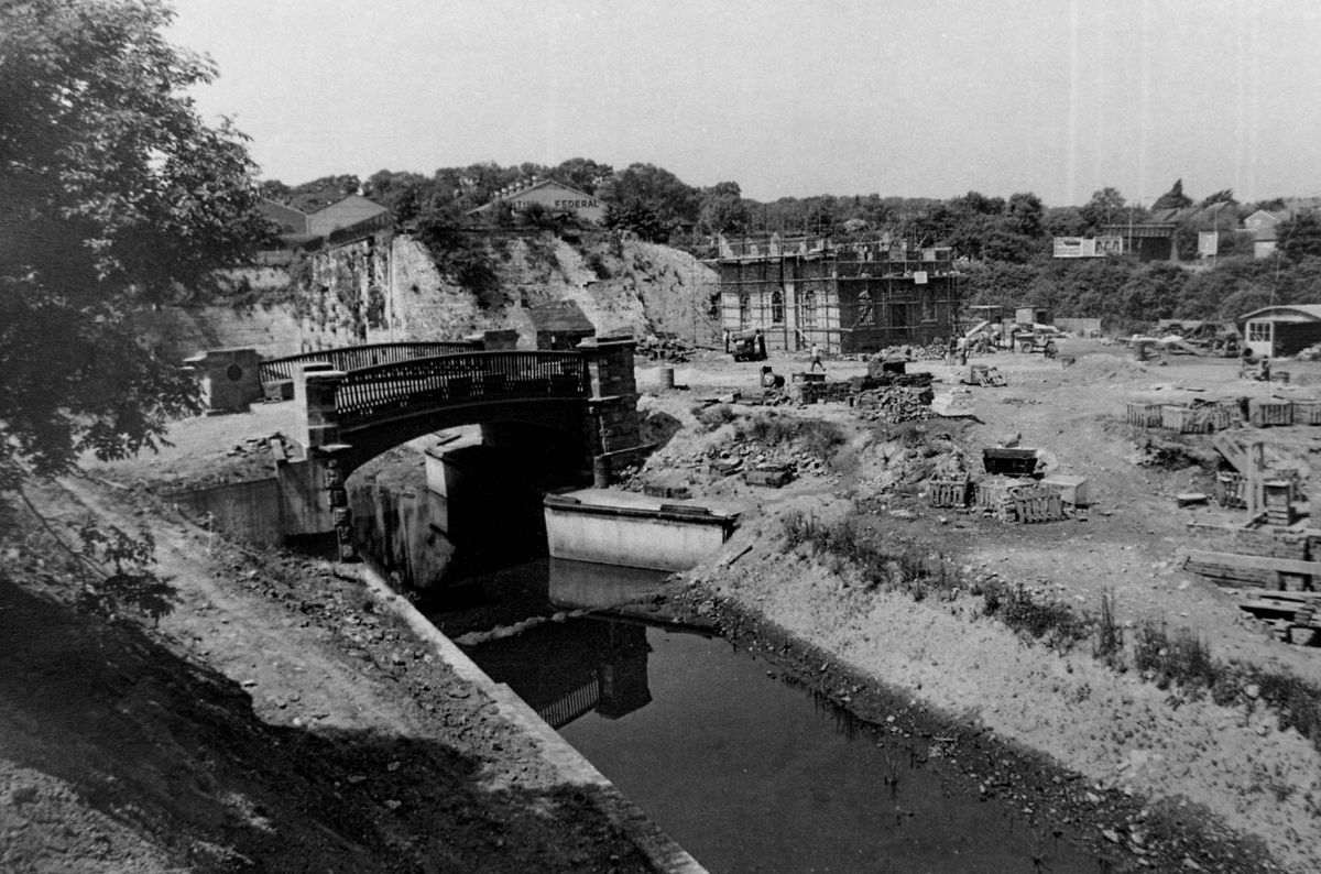 The famous bridge installed as work creating the museum's village started