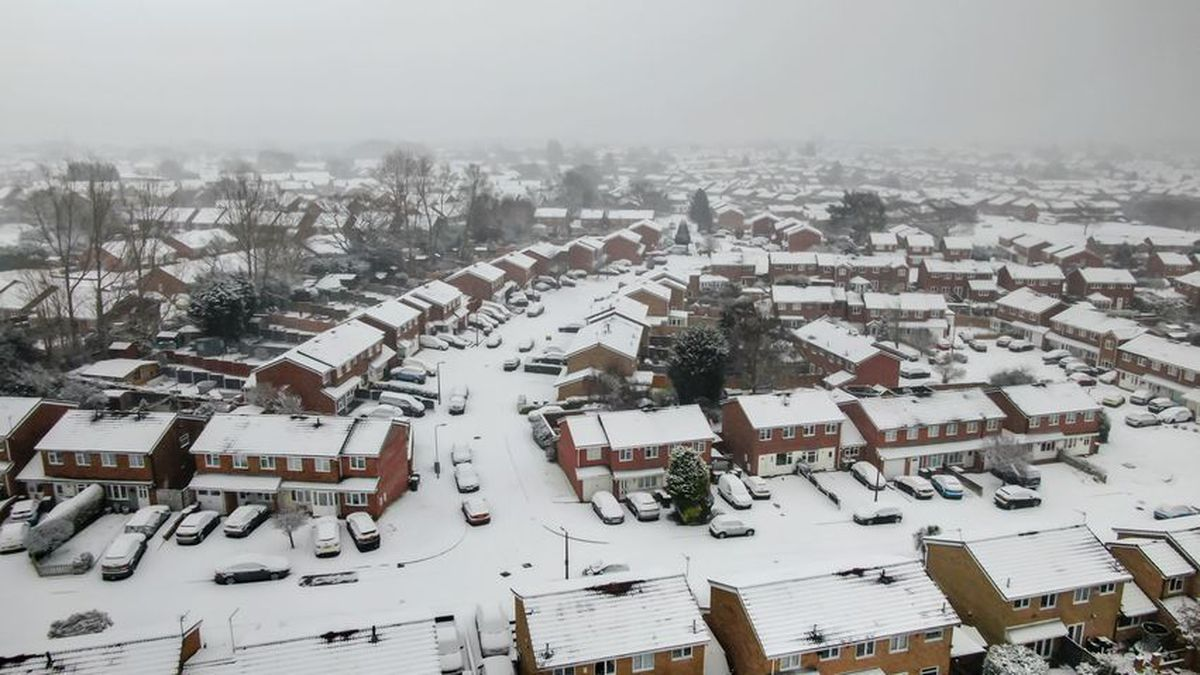 Drone photos of snow at Ashmore Park, Wednesfield. Photo: Billy Turner
