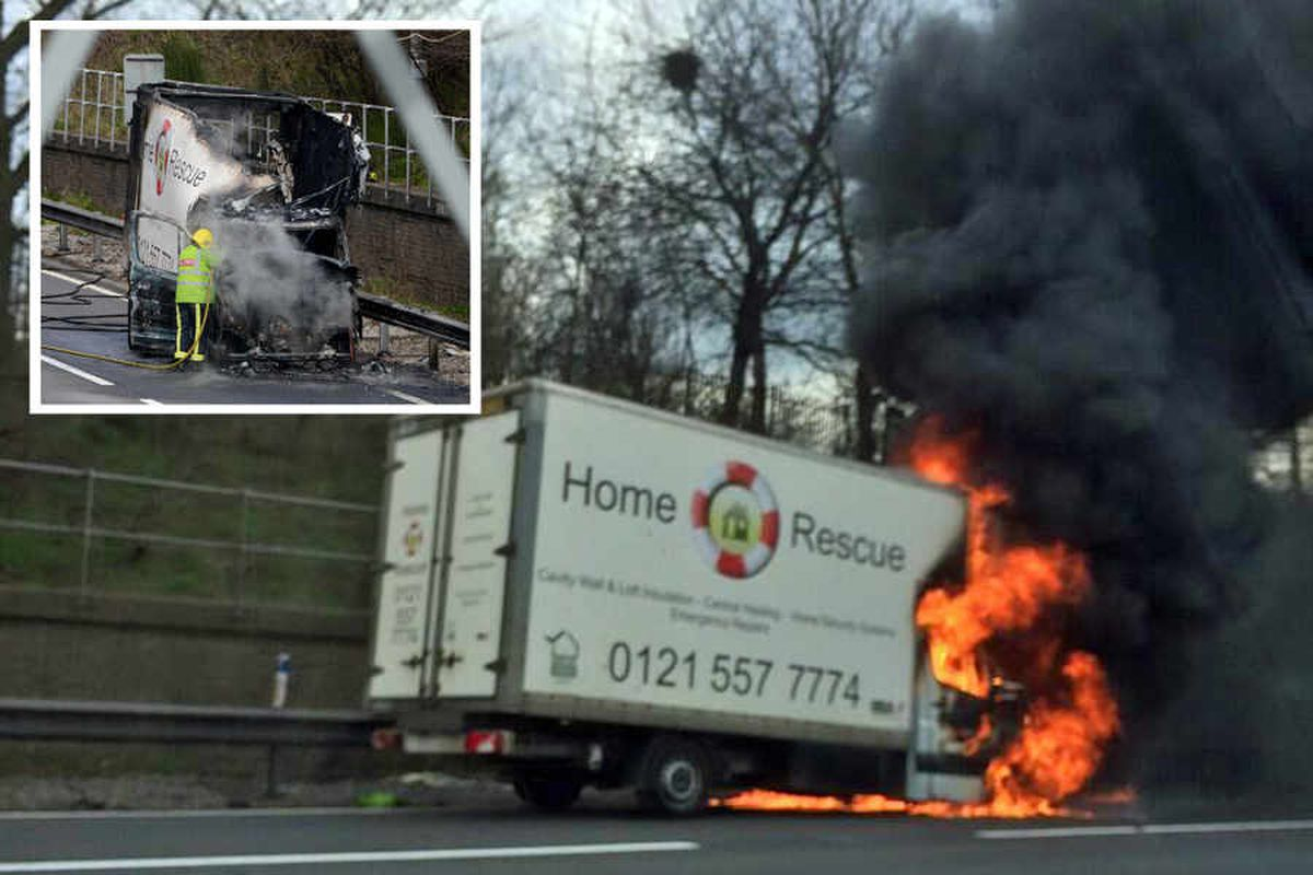 Truck fire shuts busy stretch of M6 in the West Midlands