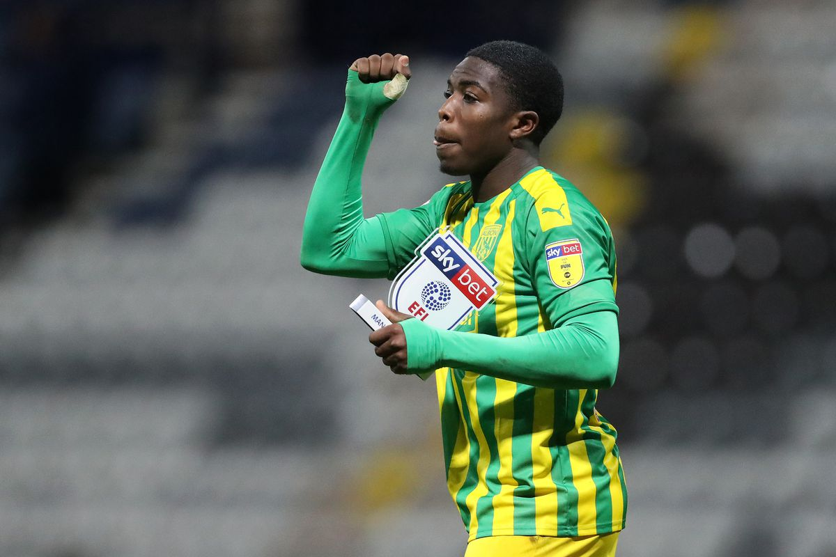 Nathan Ferguson of West Bromwich Albion celebrates after being named the SKYBET man of the match.