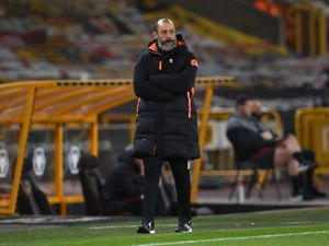 """Wolverhampton Wanderers manager Nuno Espirito Santo on the touchline during the Premier League match at Molineux Stadium, Wolverhampton. Picture date: Monday March 15, 2021. PA Photo. See PA story SOCCER Wolves. Photo credit should read: Paul Ellis/PA Wire.   RESTRICTIONS: EDITORIAL USE ONLY No use  with unauthorised audio, video, data, fixture lists, club/league logos or """"live"""" services. Online in-match use limited to 120 images, no video emulation. No use in betting, games or single club/league/player publications."""