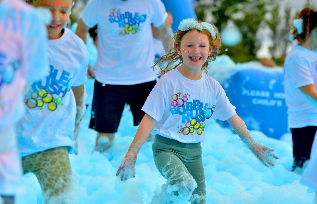 The Bubble Rush 5k run at Cofton Park in Birmingham