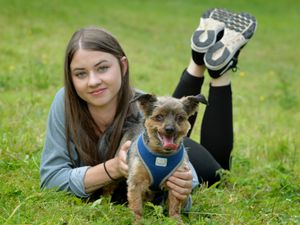 Lydia Parker, of Wednesbury, at Brockswood Animal Sanctuary with her dog Toby