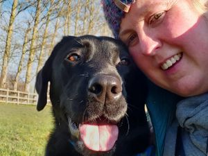 Victoria the retired guide dog with new owner Kirsty Halford