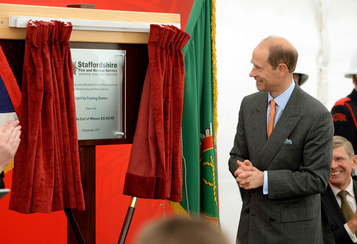 Prince Edward, Earl of Wessex, pictured during his visit to Staffordshire Fire and Rescue Service Headquarters, Pirehill, Stone. Unveiling a plaque