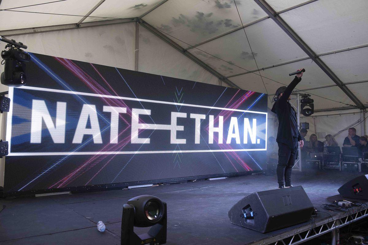 Nate Ethan on stage at Wolverhampton Pride 2019. Photo: Wolverhampton Today