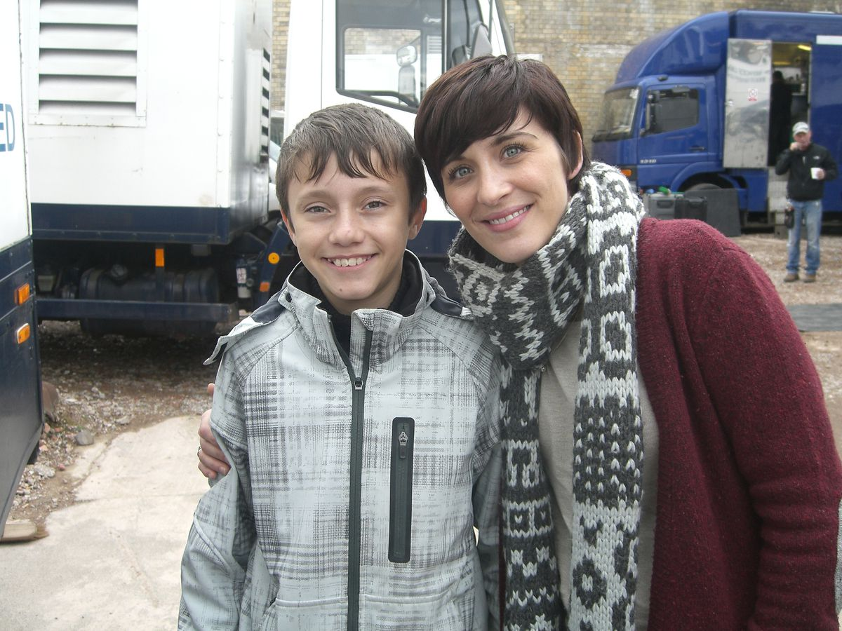 Gregory Piper, 13, with Line of Duty star Vicky McClure