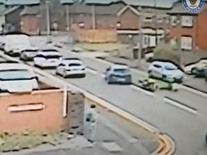 Footage showing the car ramming into the motorbike leaving the officer tumbling to the floor