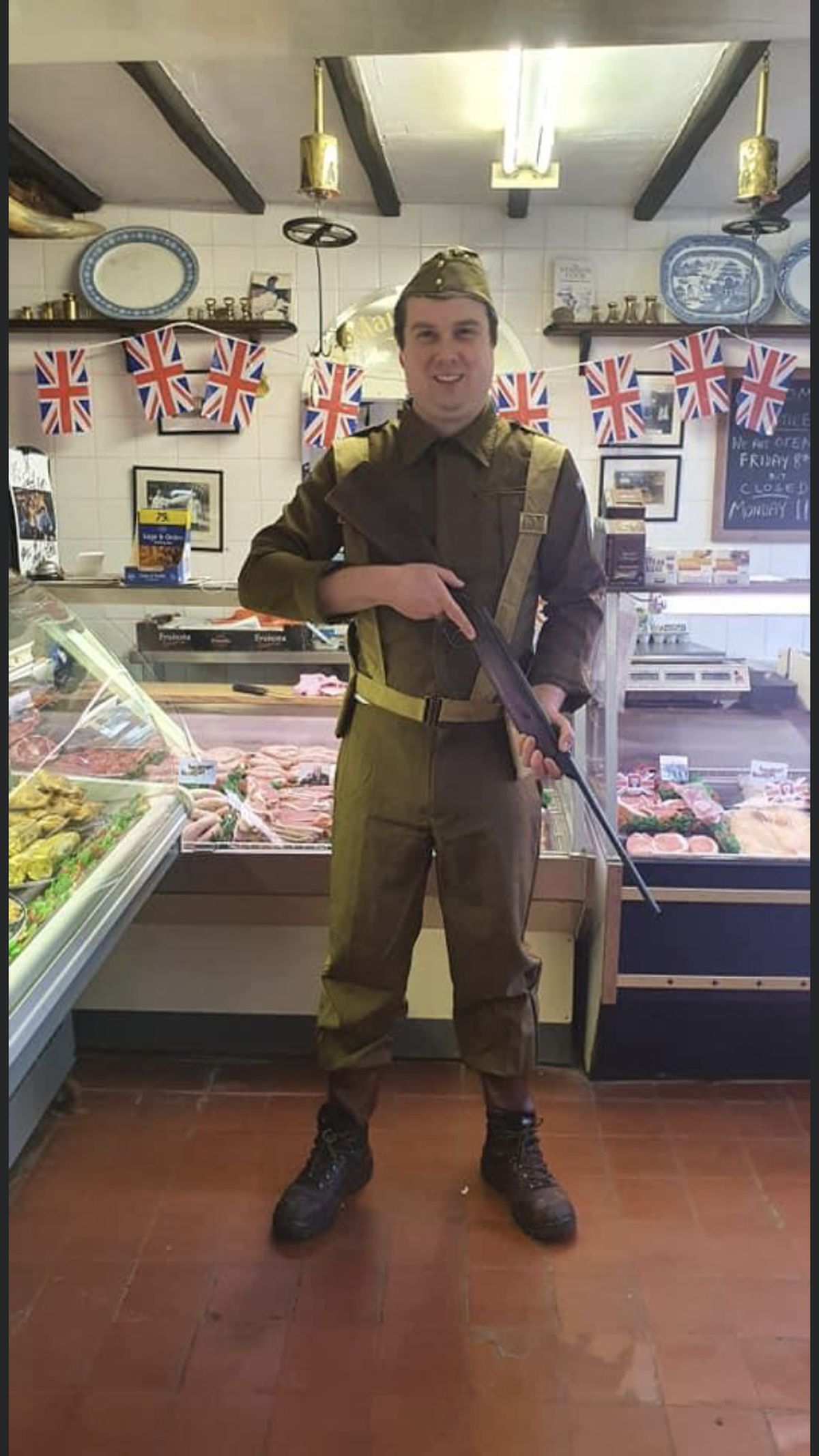 W Maiden and Son family butchers are celebrating VE Day all out. Traditional war outfits and authentic WW2 memorabilia have been decorated all around the shop including pictures of war vehicles, medals, WW2 certificates and decorated cakes.