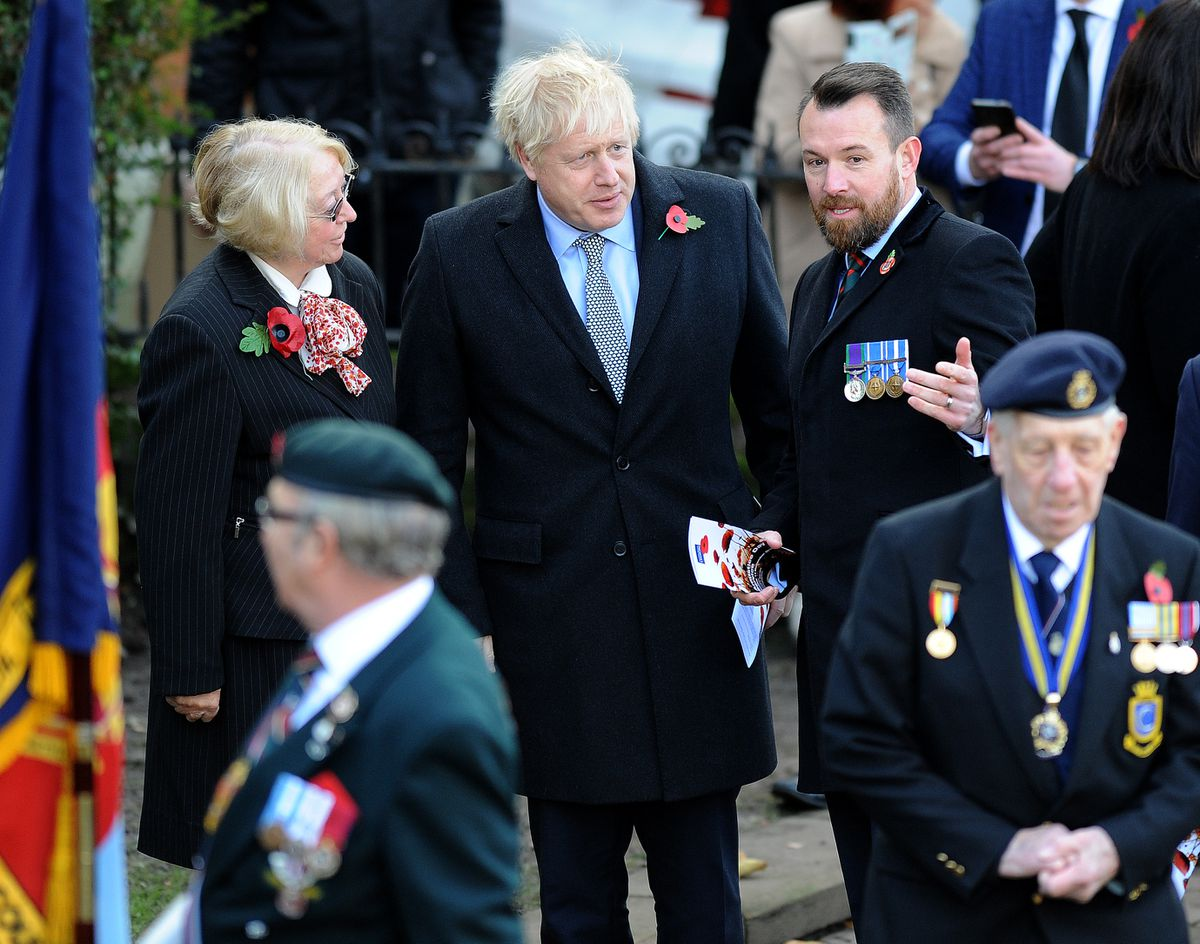 Boris Johnson with Wolverhampton Tory leader Wendy Thompson and candidate for Wolverhampton South West Stuart Anderson