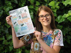 With her prize winning poster, Phoebe Deakin, aged 12, of Halesowen