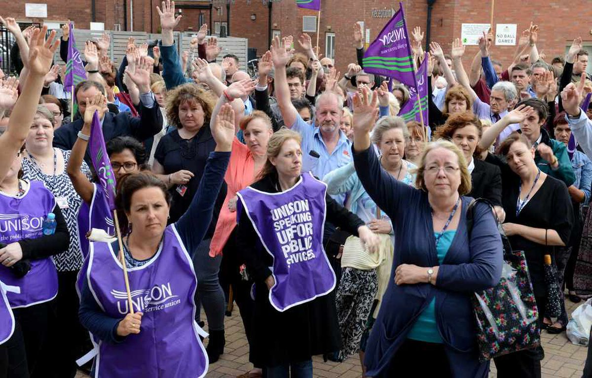 The protest outside Stafford College earlier this year