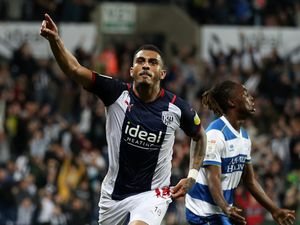 WEST BROMWICH, ENGLAND - SEPTEMBER 25: .Karlan Grant of West Bromwich Albion celebrates after scoring a goal to make it 2-1 during the Sky Bet Championship match between West Bromwich Albion and Queens Park Rangers at The Hawthorns on September 25, 2021 in West Bromwich, England. (Photo by Adam Fradgley/West Bromwich Albion FC via Getty Images).