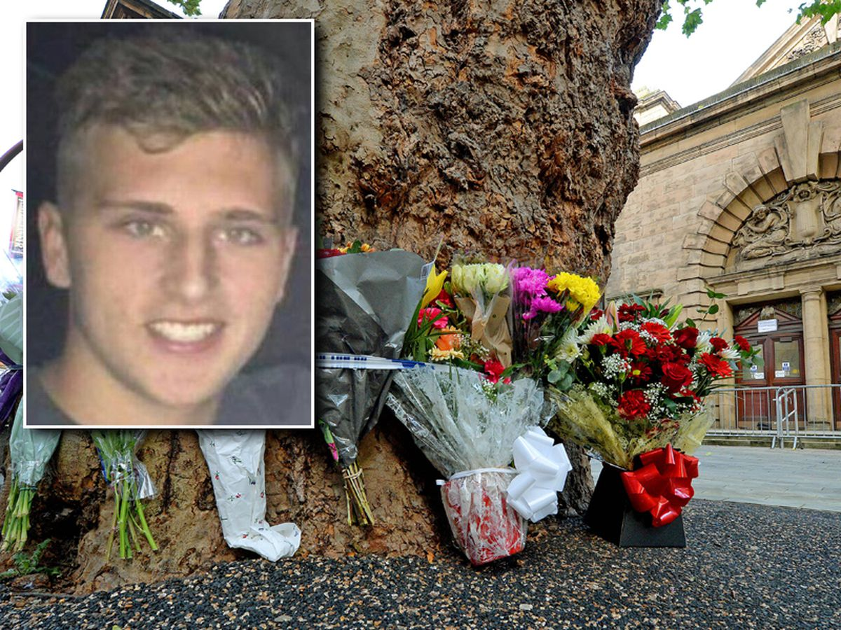 Reagan Asbury, inset, and flowers left at the scene near Walsall Town Hall