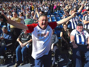 "West Bromwich Albion fans celebrate during the Premier League match at The Hawthorns, West Bromwich. PRESS ASSOCIATION Photo. Picture date: Saturday May 5, 2018. See PA story SOCCER West Brom. Photo credit should read: Anthony Devlin/PA Wire. RESTRICTIONS: EDITORIAL USE ONLY No use with unauthorised audio, video, data, fixture lists, club/league logos or ""live"" services. Online in-match use limited to 75 images, no video emulation. No use in betting, games or single club/league/player publications.."