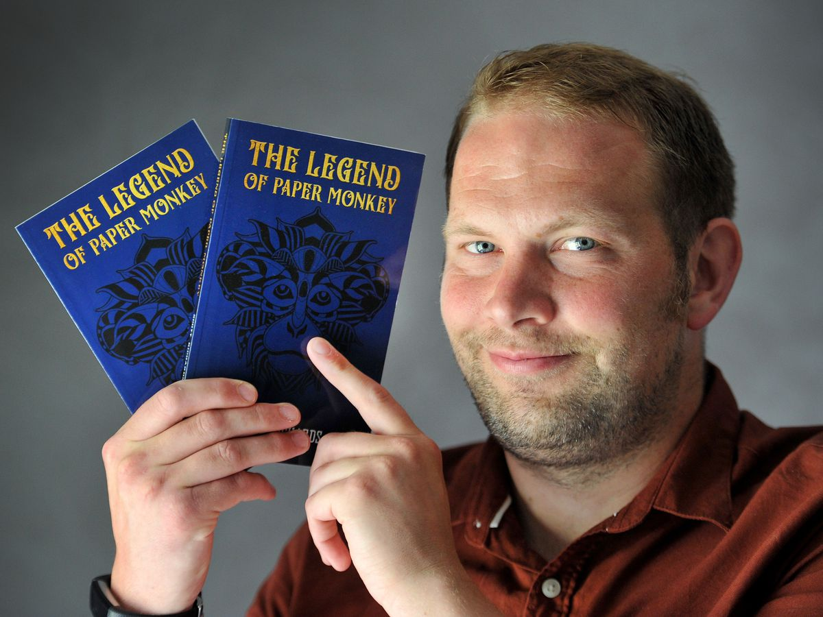 SANDWELL COPYRIGHT MNA MEDIA TIM THURSFIELD 17/06/21 .Scott Richards from Oldbury, with his first ever novel, 'The Legend of Paper Monkey'..
