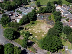 An aerial view of the old Coseley swimming baths site