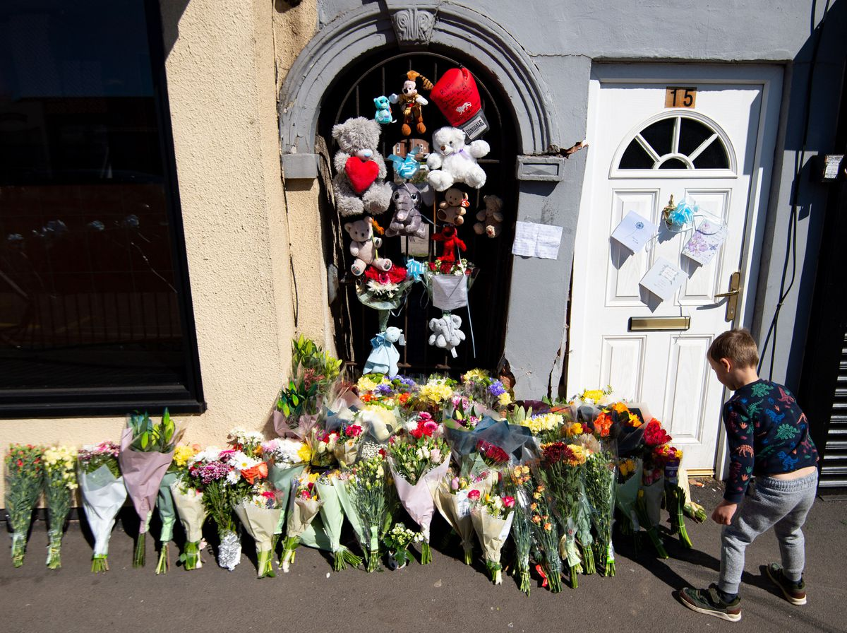 Tributes left at the scene of the crash on Brownhills High Street