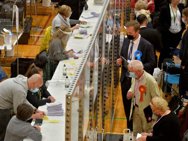 Dudley Council election results are counted at Crystal Leisure Centre, Stourbridge