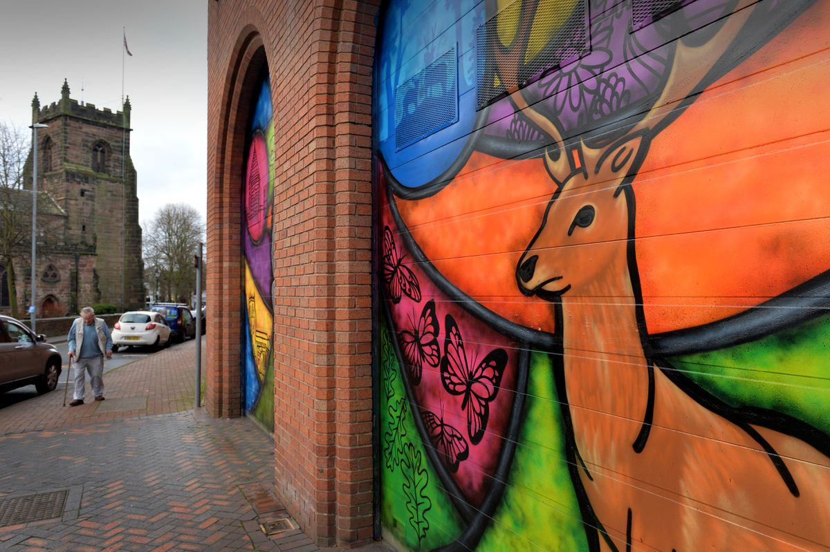 The colourful murals painted on Cannock Market Hall