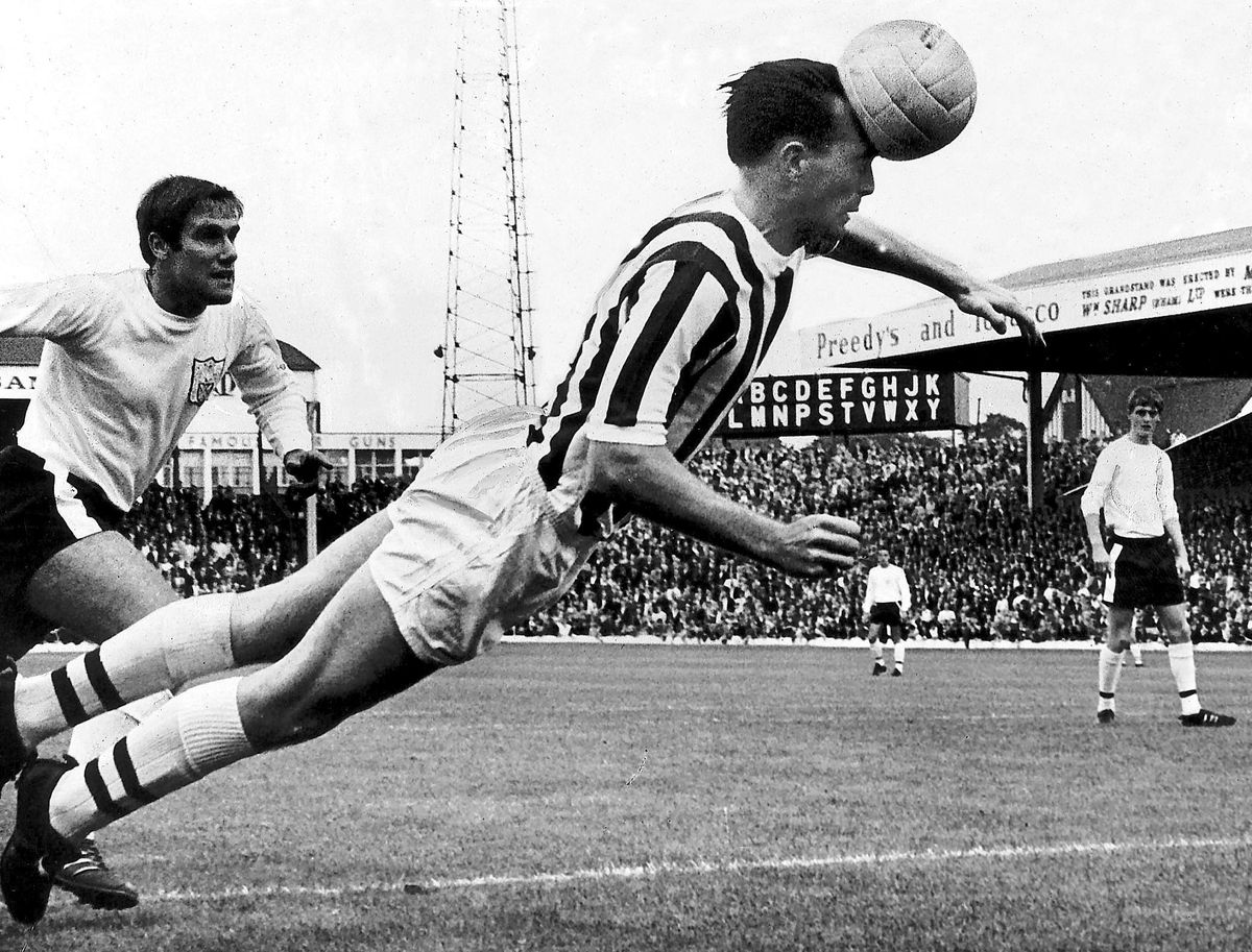 A well-known image of Jeff Astle heading the ball when he played for the Baggies