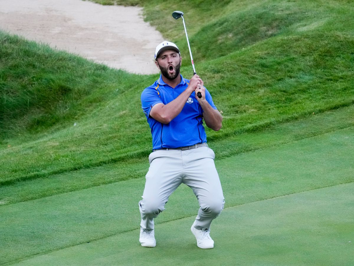 Team Europe's Jon Rahm reacts to a missed putt