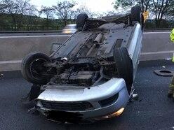 Five taken to hospital after car overturns in M6 crash