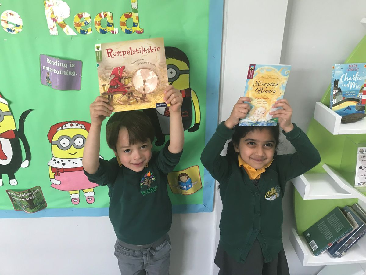 Youngsters at Mere Green with their books