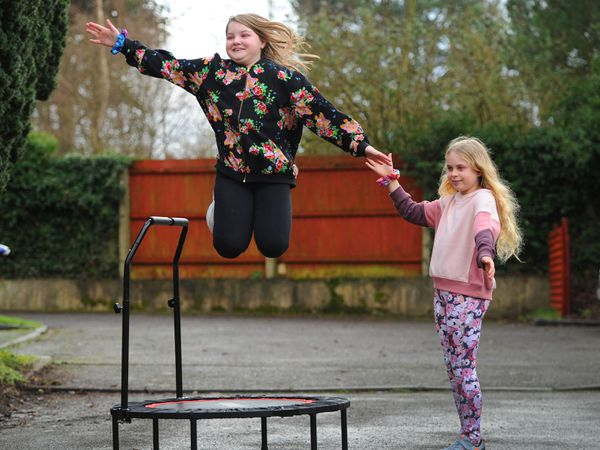 Florence Crowther, aged 10, of Wolverhampton, with school friend Lyra Causer-Gough, aged nine