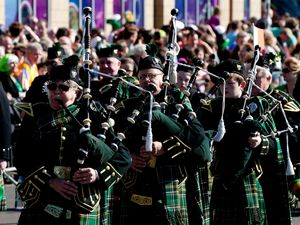 Paraders at the St Patrick's Day Parade, Birmingham, March 16 2014.