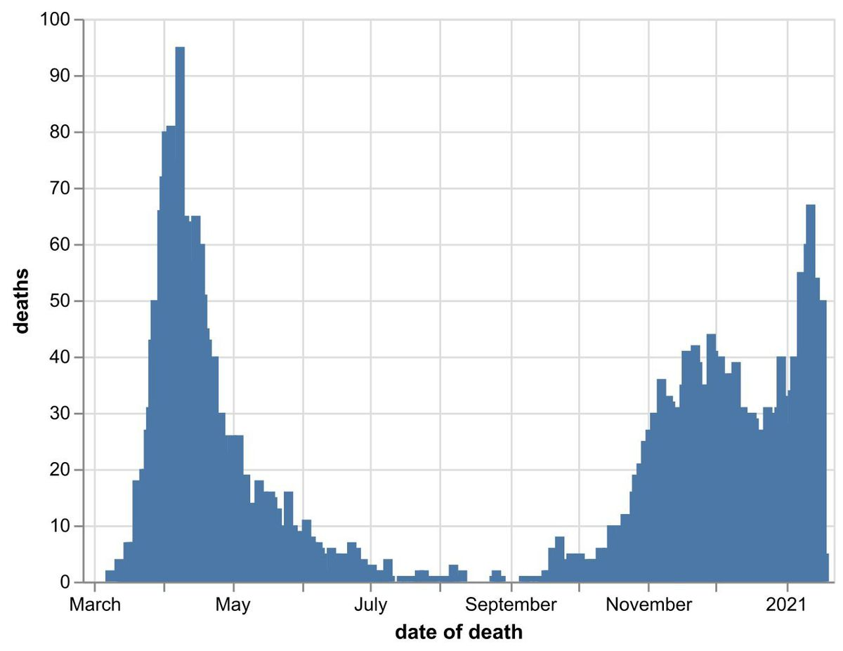 The daily number of coronavirus deaths at Black Country, Birmingham and Staffordshire hospitals as of January 19. By date of death, not date death was announced. Data: NHS England.