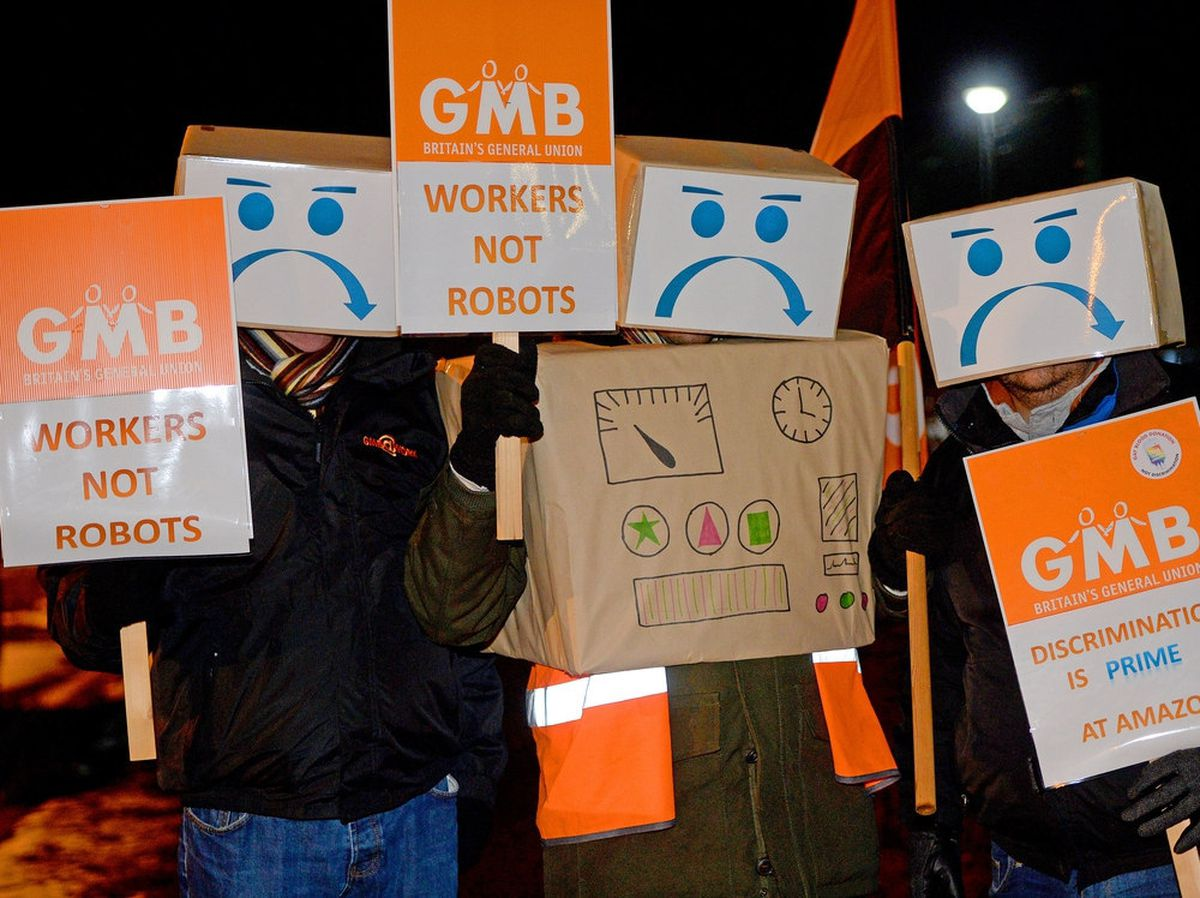 GMB union protesters outside Amazon at Rugeley