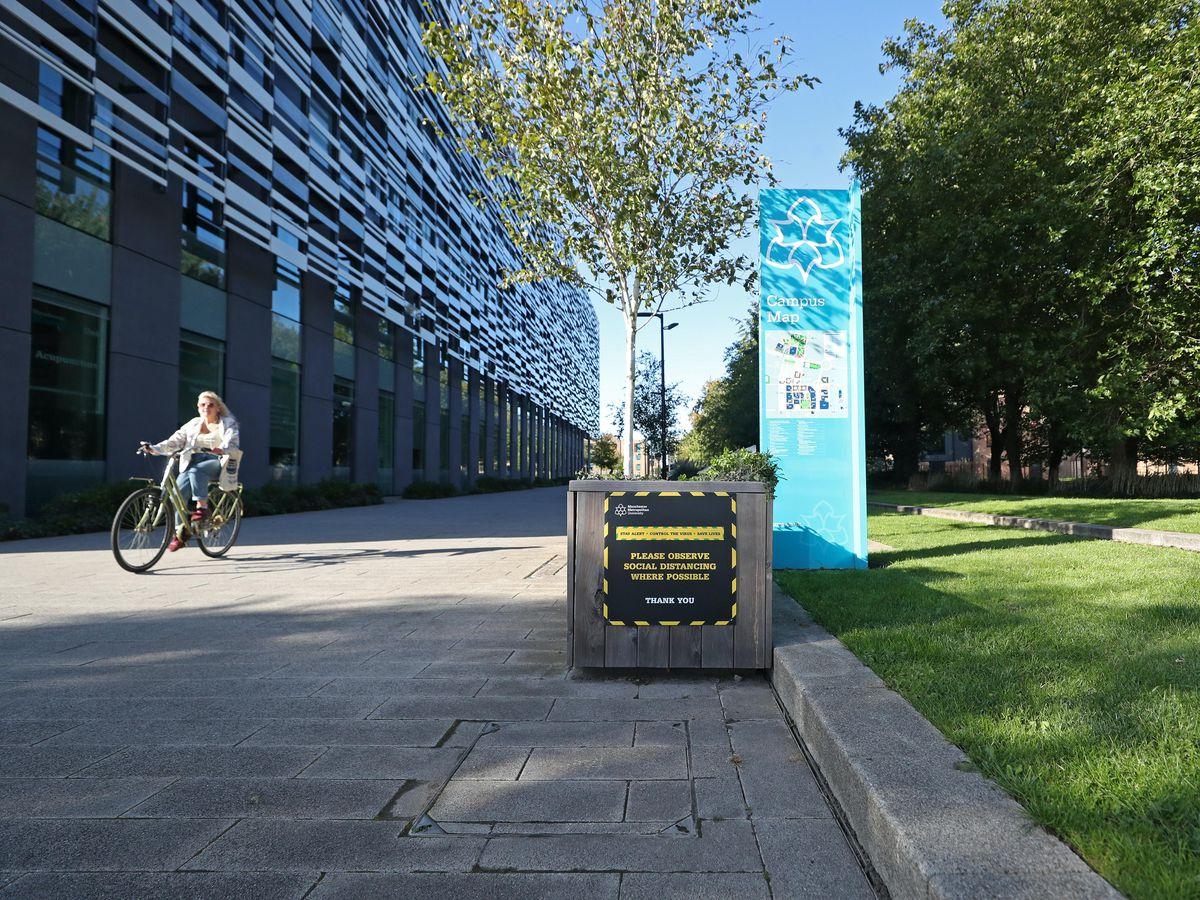 Covid-19 signage at Manchester Metropolitan University's Birley campus