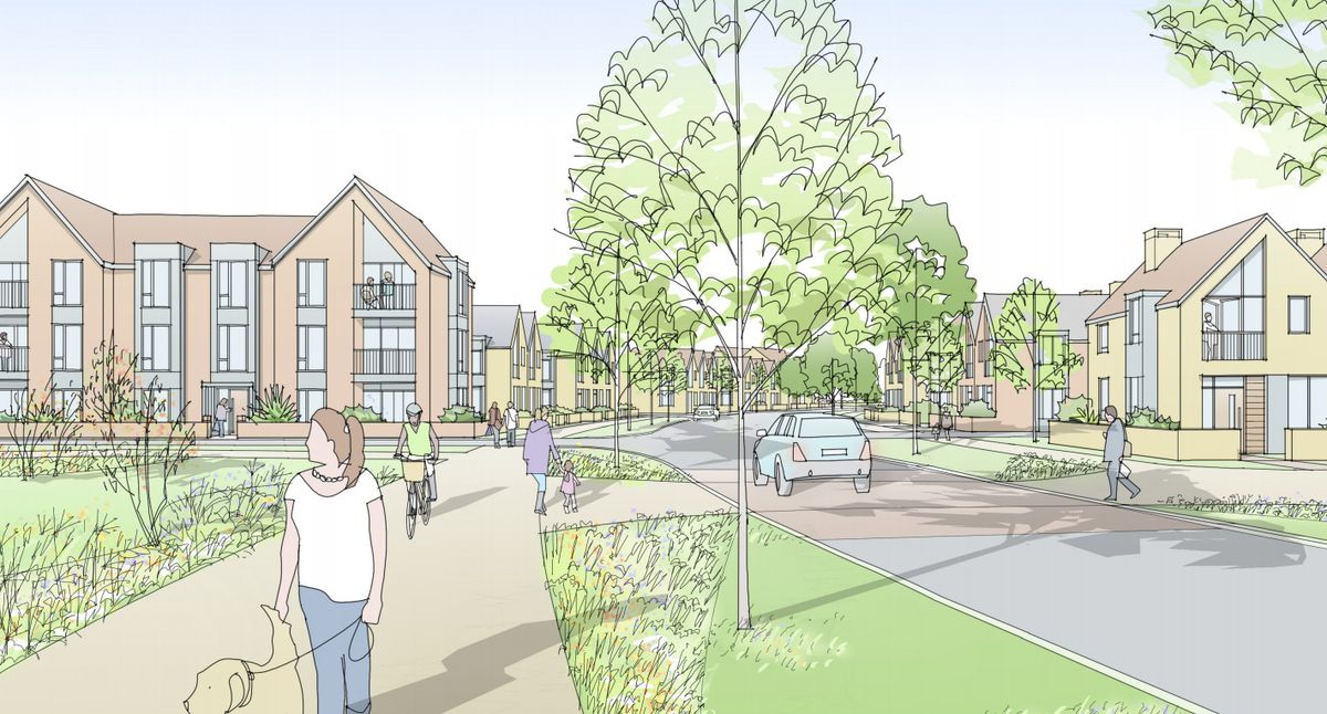 Artist's impression of a neighbourhood in Rugeley Social