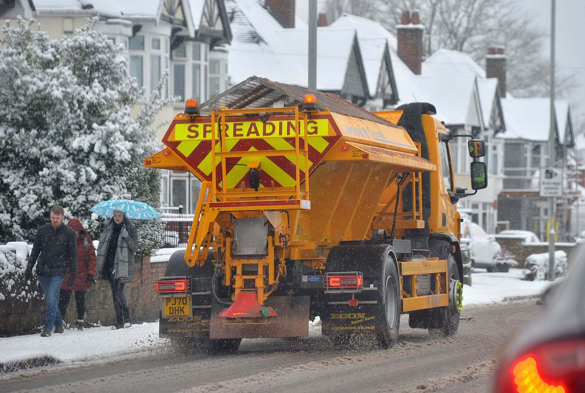 Gritting the snowy roads in Wolverhampton