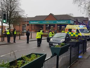 Police at the scene of the crash in New Road, Willenhall. Photo: Stephen Clune