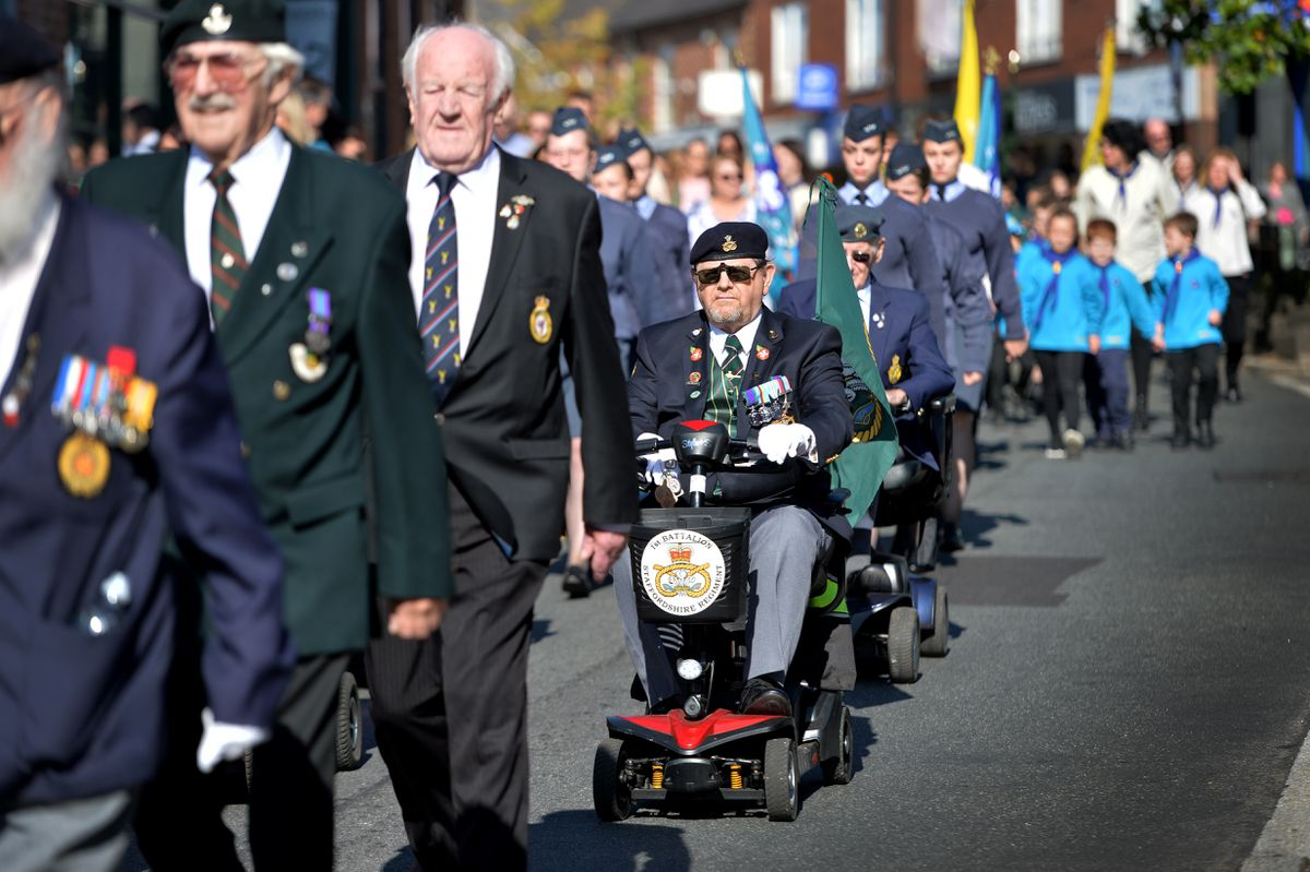 March by the Hednesford branch of the Staffordshire Regimental Association as they exercise their Freedom of the Town in commemoration of the 75th anniversary of the Battle of Arnhem