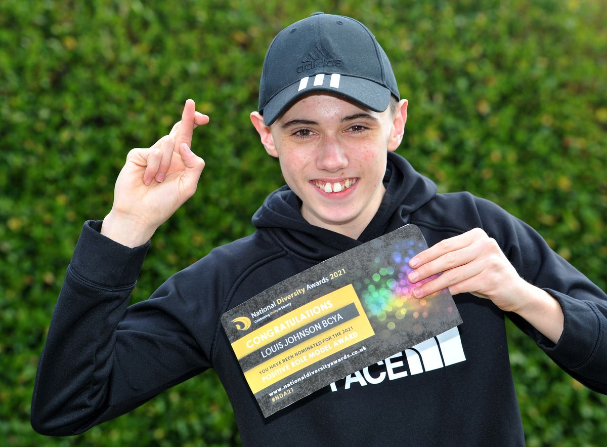 Louis Johnson keeps his fingers crossed after being nominated as a positive role model in the National Diversity Awards