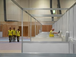 Rows of cubicles shows scale of patient numbers expected at NHS Nightingale