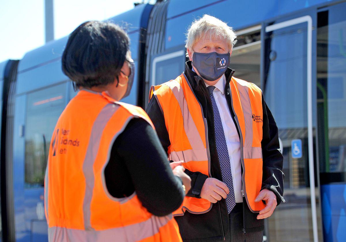 Boris Johnson visits Midland Metro's Wednesbury depot