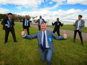 Conservatives celebrate in Sandwell, left to right:David Fisher, William Gill, Scott Chapman, Jay Anandou, Archer Williams, and Liam Abrahams