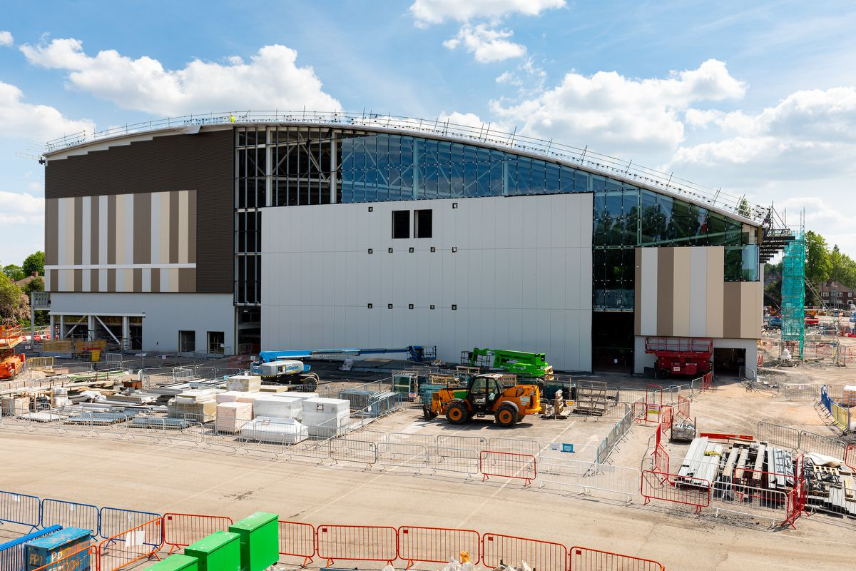 The exterior of the state-of-the-art Sandwell Aquatics Centre has really taken shape