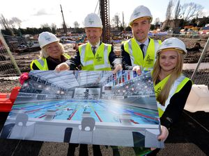 Councillor Yvonne Davies, Secretary of State Oliver Dowden, chief executive officer for Birmingham 2022 Ian Reid, and Sarah Barrow, who won a silver medal in diving at the 2014 Commonwealth Games