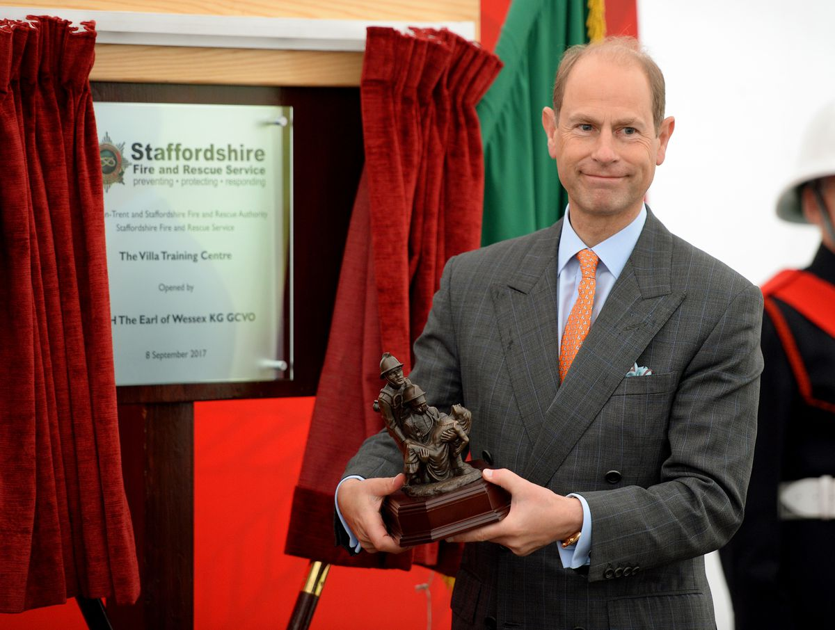 Prince Edward, Earl of Wessex, pictured during his visit to Staffordshire Fire and Rescue Service Headquarters, Pirehill, Stone.  The Earl was presented with a replica of the 'Saved' statue.