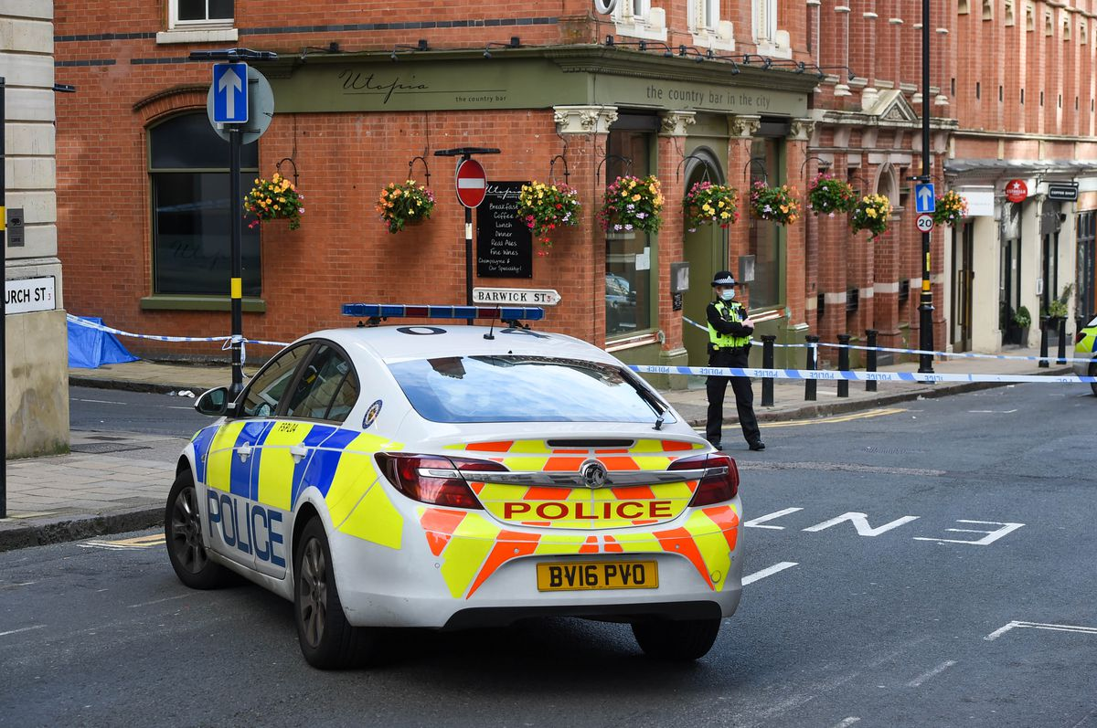 The police cordon on Barwick Street next to Utopia and Hotel du Vin. Photo: SnapperSK