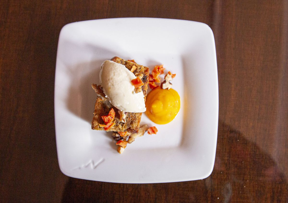 Carrot cake with cream cheese & candied walnuts