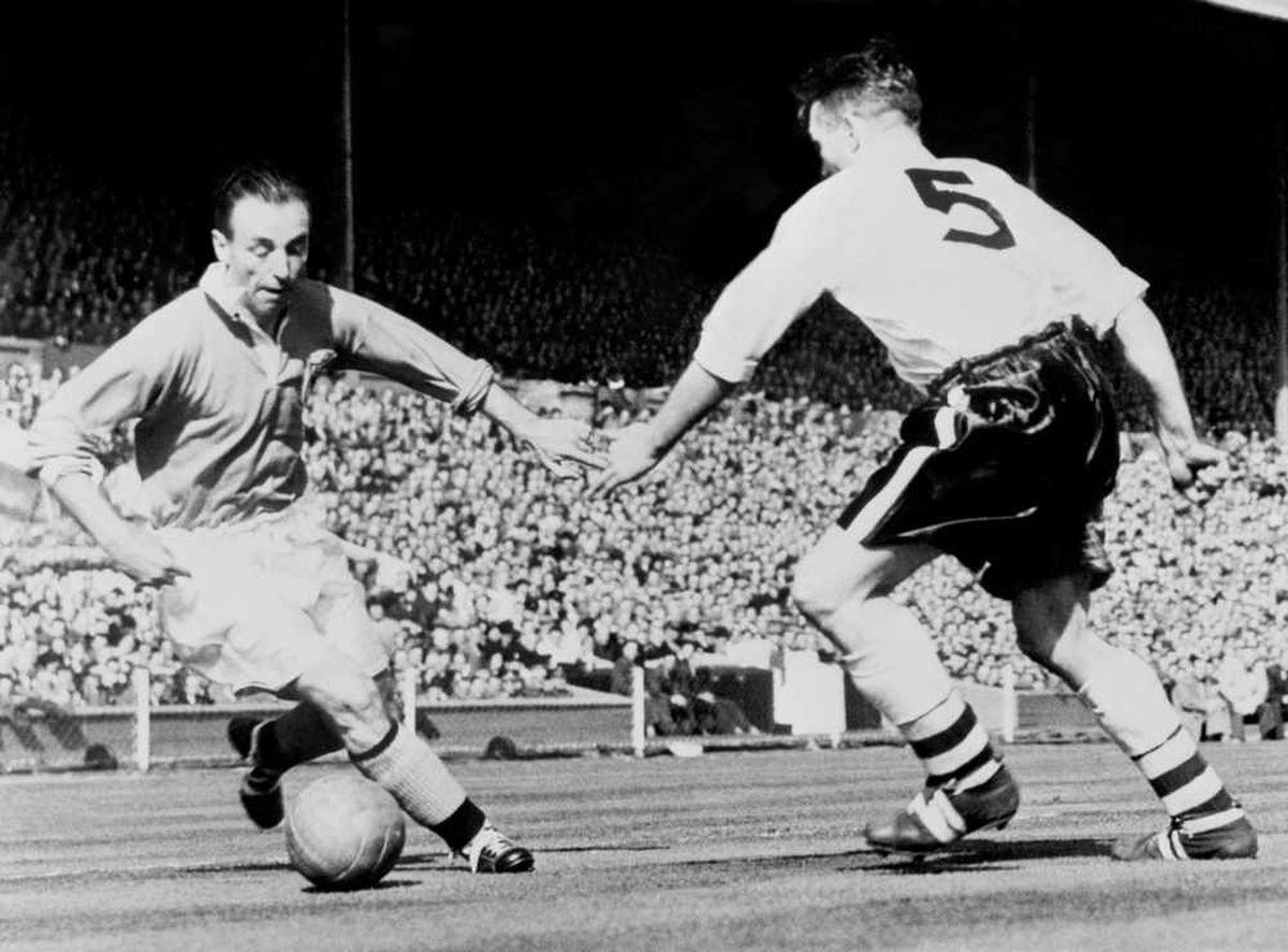 Sir Stanley Matthews at Wembley doing what he did best - dribbling with a football